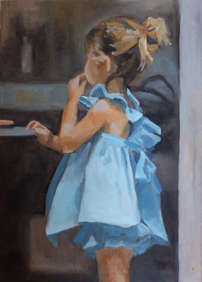 Fille robe bleue