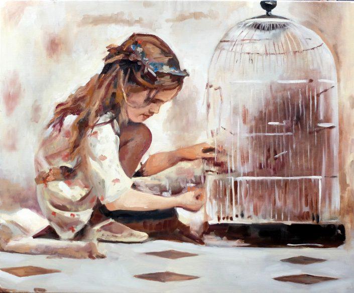Fille à la cage